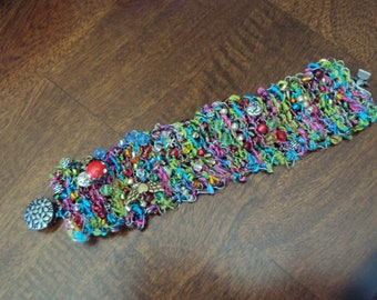Hand Knitted Wire Cuff Bracelet - Fireworks