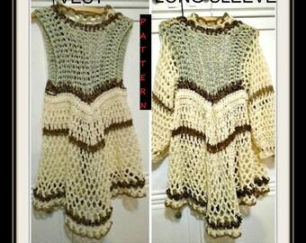Crochet Vest Pattern, Mandala Jacket, Bohemian Coat, Gypsy Sweater, Adult S-M, Teens & women, #1133S-M, instant download,crochet supplies