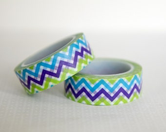 Masking tape, washi tape multicolor / zigzags / chevrons 15mm x 10m 1 roll