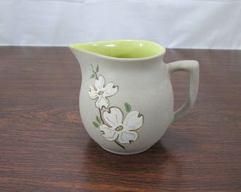 Pigeon Forge Pottery Dogwood Flower Pitcher, Yellow Interior, 5.5 Inch Pitcher, American Folk Art