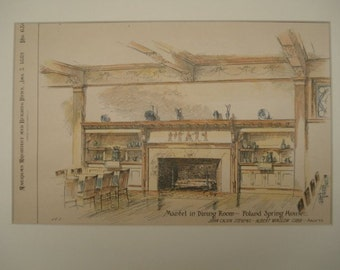 Dining Room, Poland Spring House, South Poland, Maine, 1889. Stevens & Cobb, Architects. Hand Colored, Original Plan. Architecture, Vintage
