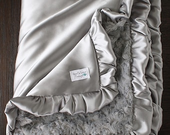 Silver throw, Silver Minky, Adult sized minky, Oversized Blanket, large minky, Christmas gift, Silver Blanket, satin minky, gift for women