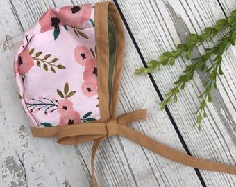 Baby Bonnet | Reversible Bonnet | Toddler Bonnet | Baby Hat| Floral Bonnet | Vintage Bonnet