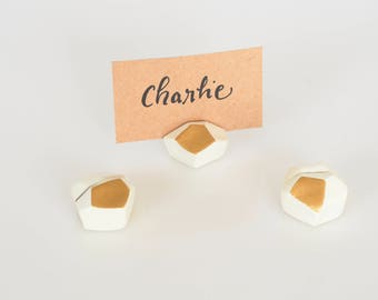Wedding place card holders Set of 3 - Geometric wedding table number holder - Picture holder - Clay wedding favors - Photo holder - Bronze