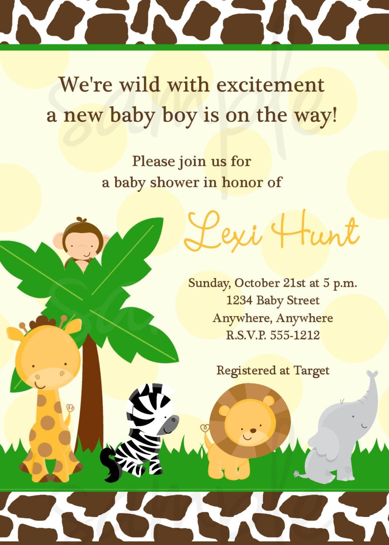 Safari Jungle Baby Shower Invitation Elephant Giraffe Lion