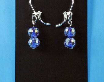 earings dangle earrings native american jewelry gift glass beads handmade purple Sterling Silver Leverback Earring Closures
