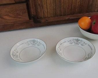 Mikasa Margaret Berry / Dessert Bowls - Set of 2 Bowls - Blue Flowers in Tan Urns - Mikasa Pattern 5555 - Vintage Fine China