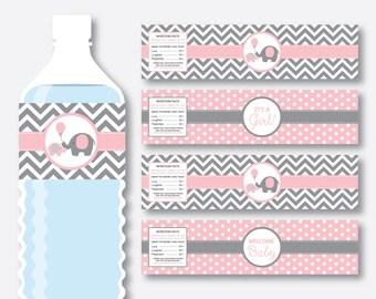 Instant Download, Elephant Water Bottle Labels, Elephant Water Bottle Wrappers, Elephant Labels, Elephant Printable, Little Peanut (SBS.36)