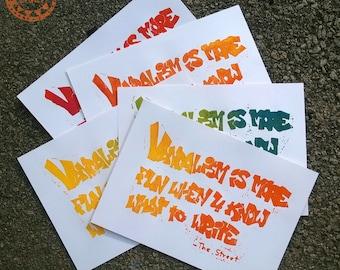 Vandalism A3 Lino Print