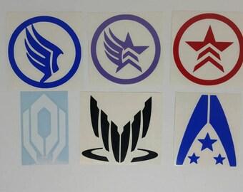 Mass Effect Renegade, Paragon, Alliance, Paragade, Spectre, and Cerberus Vinyl Decals