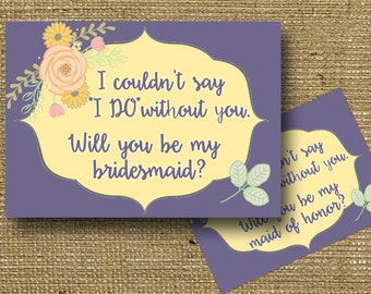 Will you be my Bridal Party Invitations Bridesmaid Maid of Honor Matron of Honor Flower Girl Invite Printable Instant Download