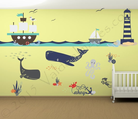 Ship adventure nursery decals nautical wall decor nursery