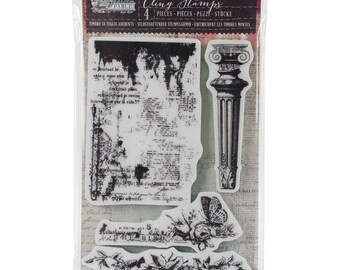 """Prima~Garden Fable Cling Rubber Stamps 4""""X6"""" Column, Newsprint & Floral"""