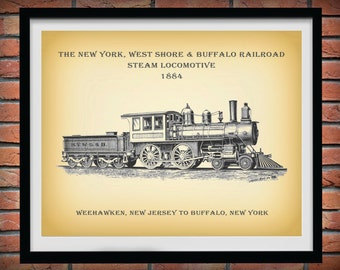 Steam Locomotive Print - New York West Shore Buffalo Railroad 1884  - Railroad Decor - Train Poster - Train Collector Gift - Train Decor