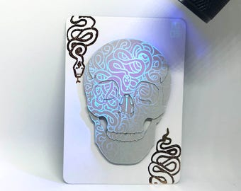 Original Inktober 'Long' Cut Paper Skull UV Ink Artist's Trading Card