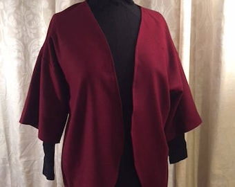 Maroon Wool Kimono Jacket