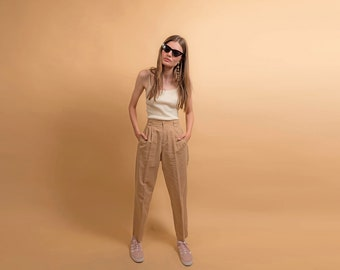High-Waisted Linen Pants / Vintage 90s Trousers / Beige Pleated Pants  / 90s Liz Claiborne Δ size: M / 27W