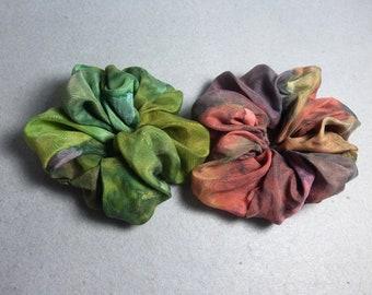 "Silk Scrunchies (set of 2 medium) ""Moss Green and Brown "", Hand Painted Silk Scrunchies"