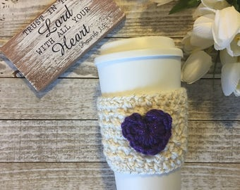 Purple Heart Cup Cozy, Heart Coffee Cozy, Cup Cozy