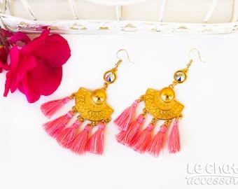 SWAROVSKI EARRINGS, BOHO earrings, Tassel earrings, Coral earrings, Fashion earrings, Folklore earrings, Gold earrings, Party earrings