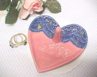 Handmade Pottery Ring Holder Dish | Jewelry Storage Ring Dish | Starry Night | Pink Heart Engraved LOVE | Pink Blue Yellow | Ready to Ship