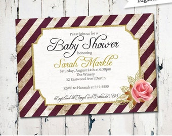 Elegant striped Baby Shower Invitation, typography, gender neutral baby shower invite, mod shower invitation printable (JPD153)
