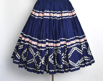 RESERVED for Rick Vintage 1950s Patio Circle Skirt Squaw Red White and Blue