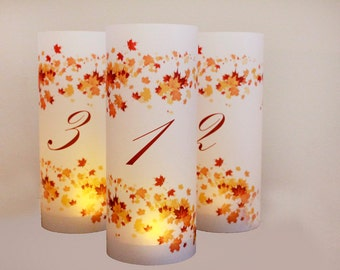 Fall Wedding Table numbers, fall luminaries, autumn wedding, autumn table numbers, wedding luminaries, leaf wedding decor, Numbers set of 20