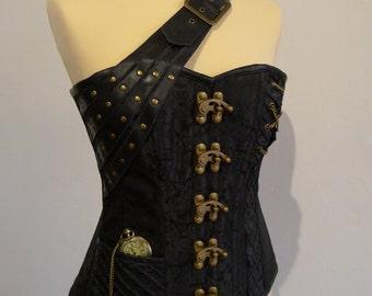Corset 'Corsaire' cuir noir/ black leather