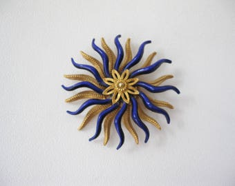 Swirly Enamel Flower Pin, Mid Century Costume Brooch