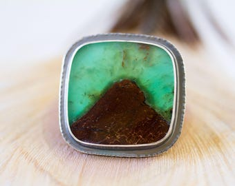 Australian Chrysoprase Ring, Sterling Silver Cocktail Ring, Collector Stone, Chrysoprase in Matrix - Mystery of Grace - Size 8