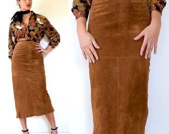 Vintage 80s 90s High Waisted Burnt Sienna Brown Suede Leather Midi Pencil Skirt (size xs, small)