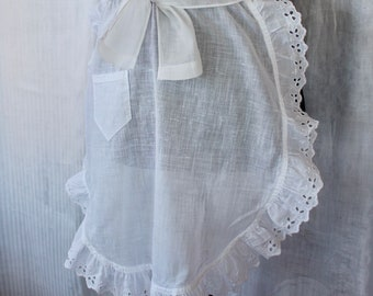 Vintage Linen Apron White French Maid Eyelet Half Sheer