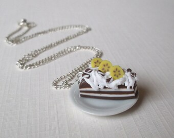 Chocolate Cake Necklace (food necklace polymer clay miniature food miniature cake sweet jewelry food jewellery sweet necklace gift for girl)
