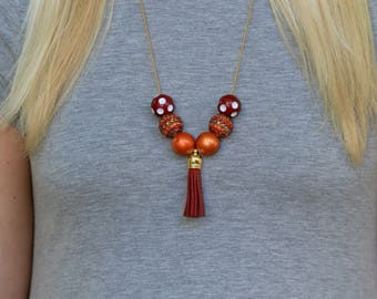 Game Day Necklace/Game Day Jewelry/Maroon & Orange Necklace/Maroon and Orange Jewelry/Tailgate Attire/Maroon and Orange/University Necklaces