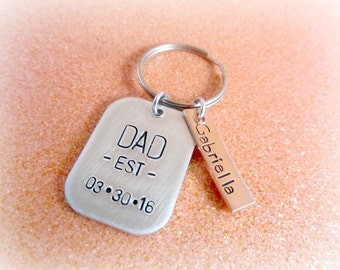 Personalized Dad Keychain - Hand Stamped Christmas Gift for Dad - Dad EST Date Keychain - Soon to be Daddy Pregnancy Announcement