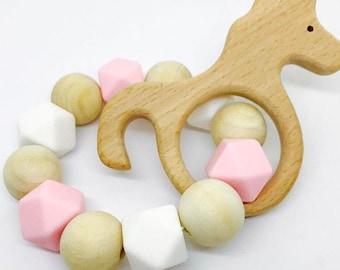 Unicorn Silicone & Wood Teething Ring