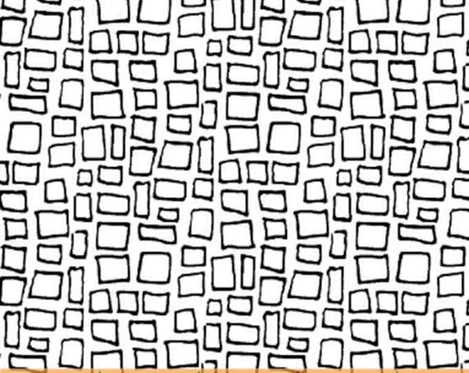 HARMONY - Boxes in White / Black - Box Cotton Quilt Fabric - Geometric Blender - Another Point of View - Windham Fabrics - 42187-2 (W4677)