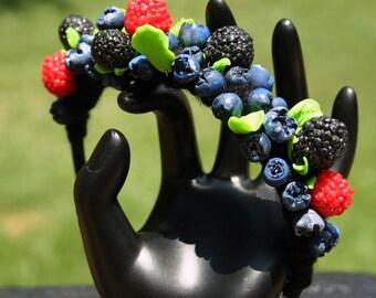 Unique Berries Headband Handmade of PolymerClay