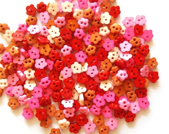 100 pcs Tiny Cherry Blossom Flower Buttons size 7 mm Mix colors