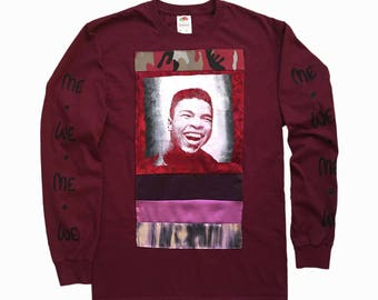 Muhammad Ali T-shirt // Patchwork T-shirt // Quilted T-shirt // Long Sleeve T-shirt // Screen Printed T-shirt //