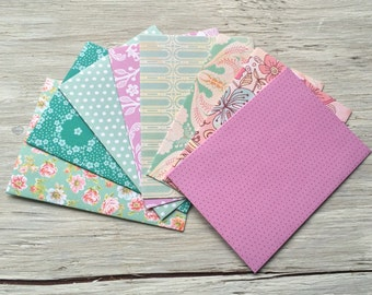 Patterned envelope and note card set set of 8, Size 5 1/4 ix 3 3/4 inches,  vintage inspired patterns