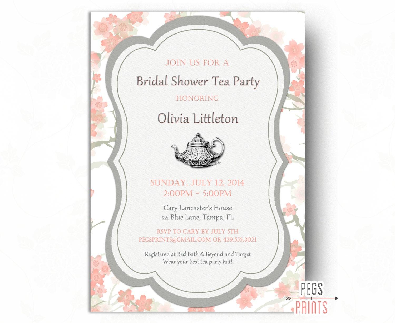 Floral Bridal Shower Tea Party Invitation Printable Bridal