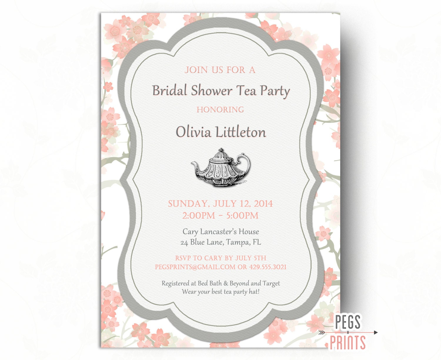 Floral bridal shower tea party invitation printable bridal zoom filmwisefo Image collections