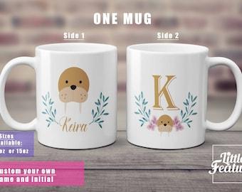 walrus mug gift for walrus lover custom name mug, initial mug, wreath mug, gift for her, walrus present,,