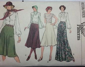 1970s Missses Skirt Pattern in 4 lengths Vogue Pattern 9311  Waist Size 25 Misses 10 Uncut Pattern