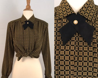 80s Secretary Blouse Vintage Houndstooth Print