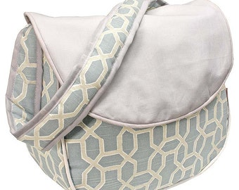 Monogrammed Messenger Diaper Bag - Pebbles Sky Blue