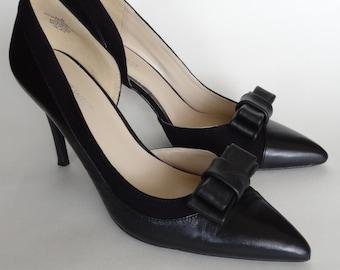 Black leather bow shoe clips, Shoe Decorations