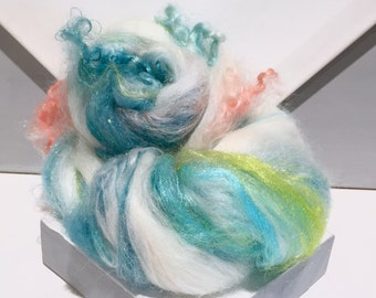 "Fiber Art Batt Roving,""Mermaid's Song""  MTO white teal blue aqua, aquamarine, teal, yellow green, needle nuno felt, spinning fiber, mermaid"